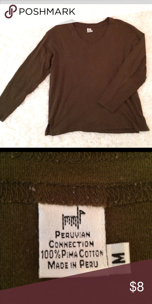 Peruvian Connection Size M Knit Top Green, long sleeved Peruvian Connection top Peruvian Connection Tops Tees - Long Sleeve