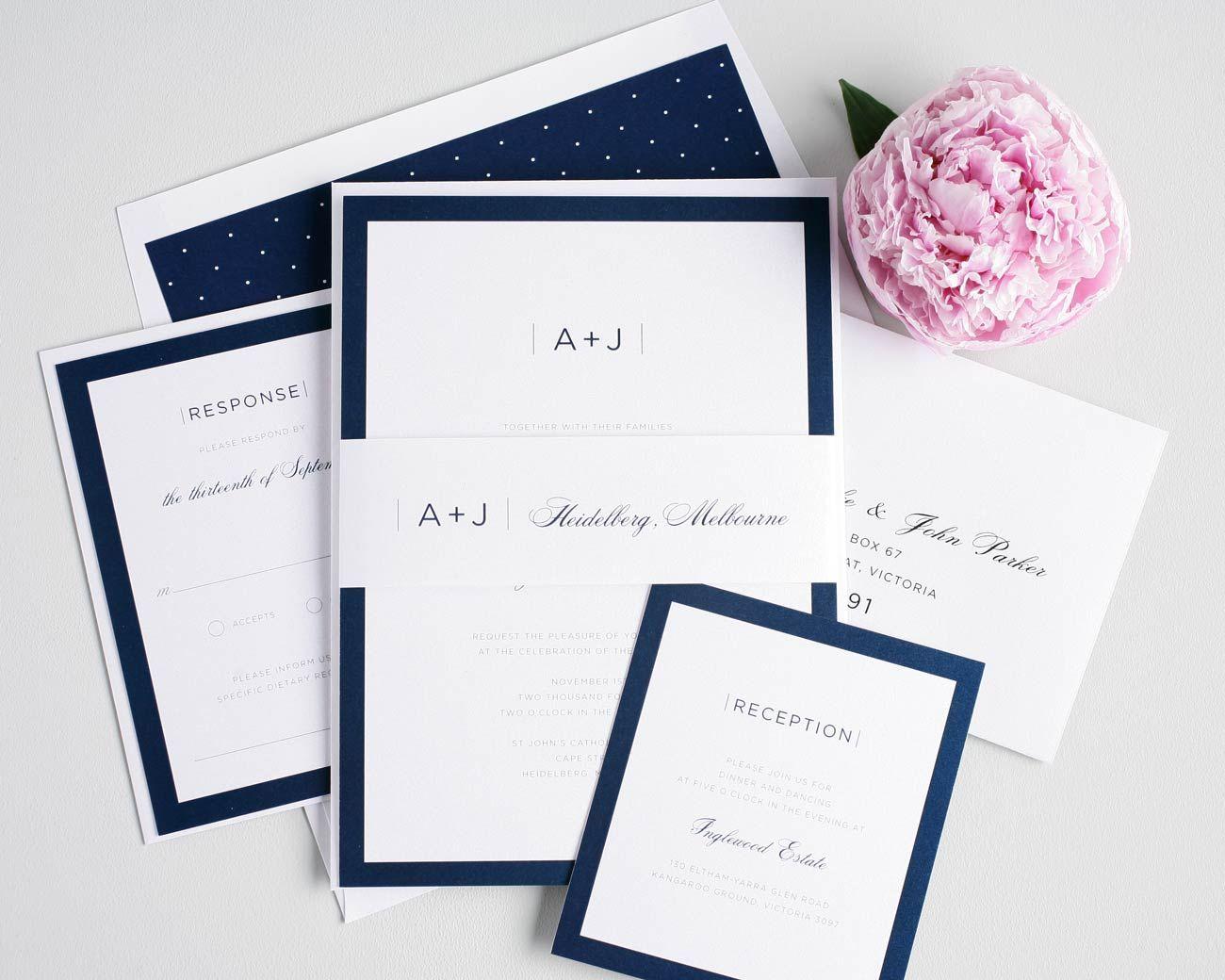 botanical navy blue wedding invitations laser cut swws031