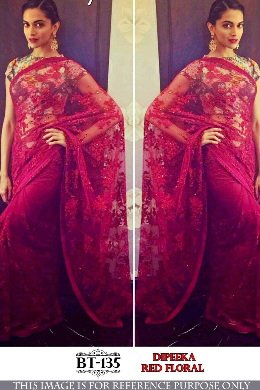 f2d1dc18707797 Deepika In Red Saree,Dipika Padukone Style saree,Nylon net saree,Banglori  print blouse with saree,Party wear saree,buy saree online