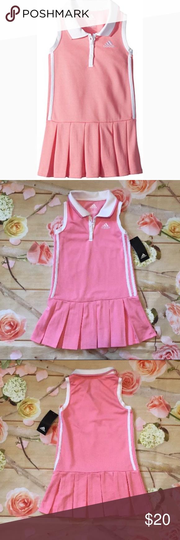 300769bdaa6 Adidas Kids Pink/White Twirl Polo Dress sz 5 girls Your little one twists  and