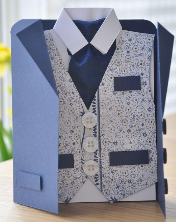 открытка своими руками пиджак рубашка с галстуком