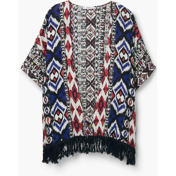 MANGO Fringes Printed Caftan (810 MXN) ❤ liked on Polyvore featuring tops, tunics, short kaftan, fringe tunic, bat sleeve tops, kaftan tops and short tops