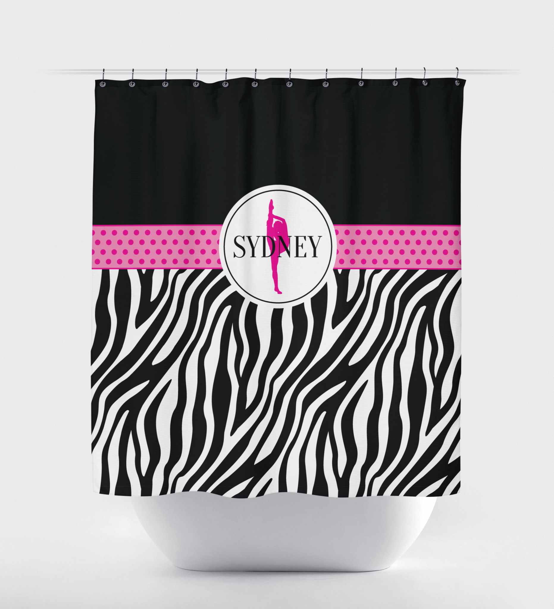 Zebra Print Dance Shower Curtain Hot Pink Black And White