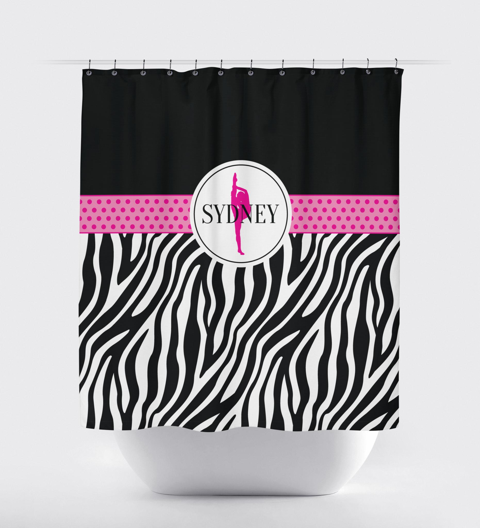 Zebra Print Dance Shower Curtain | Hot Pink, Black and White ...