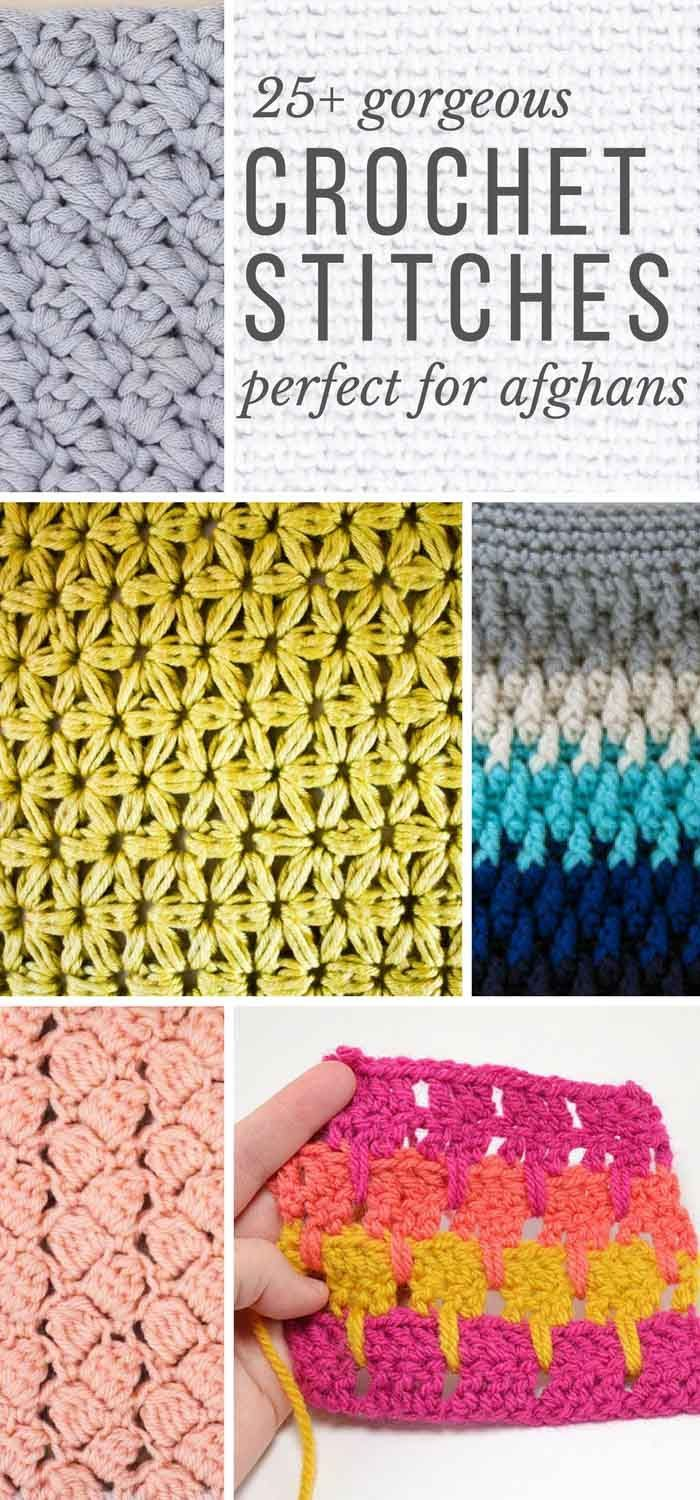 This collection of modern crochet stitches for blankets and afghans ...