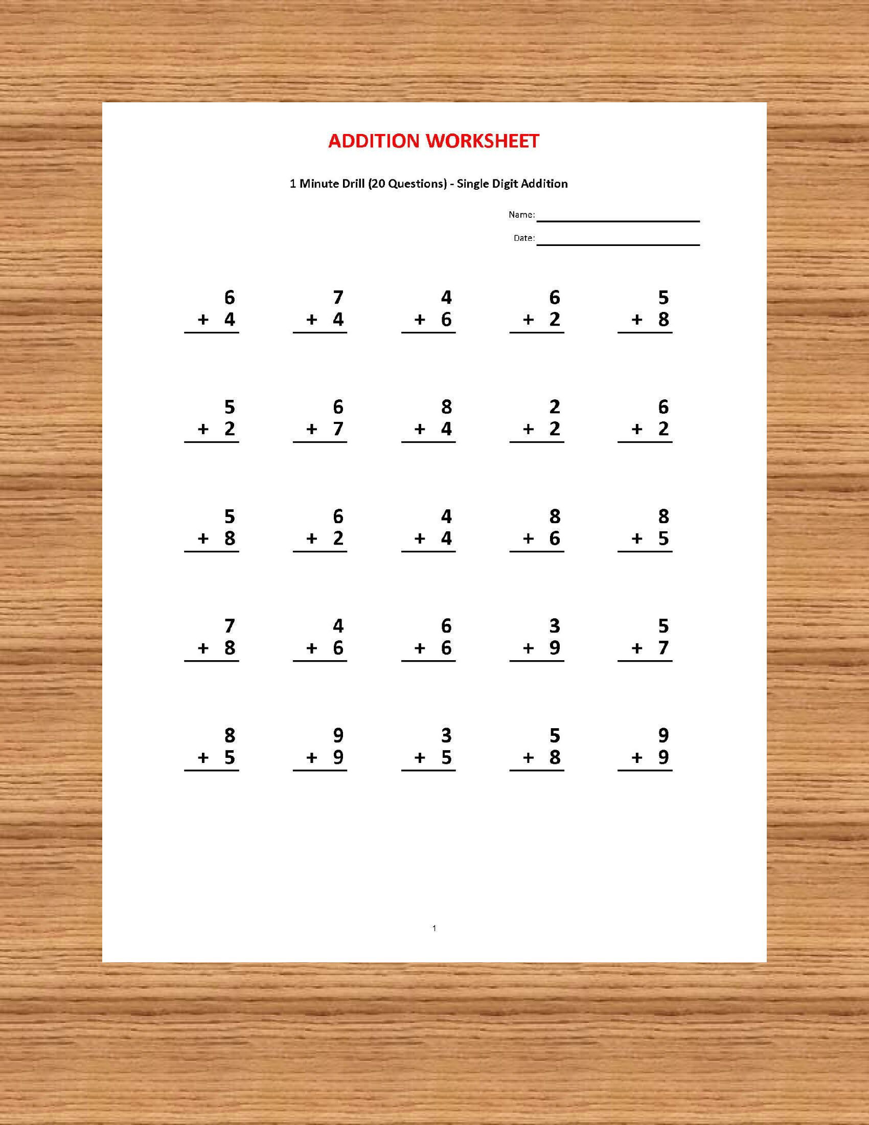 Addition 1 Minute Drill V 10 Math Worksheets With Answers