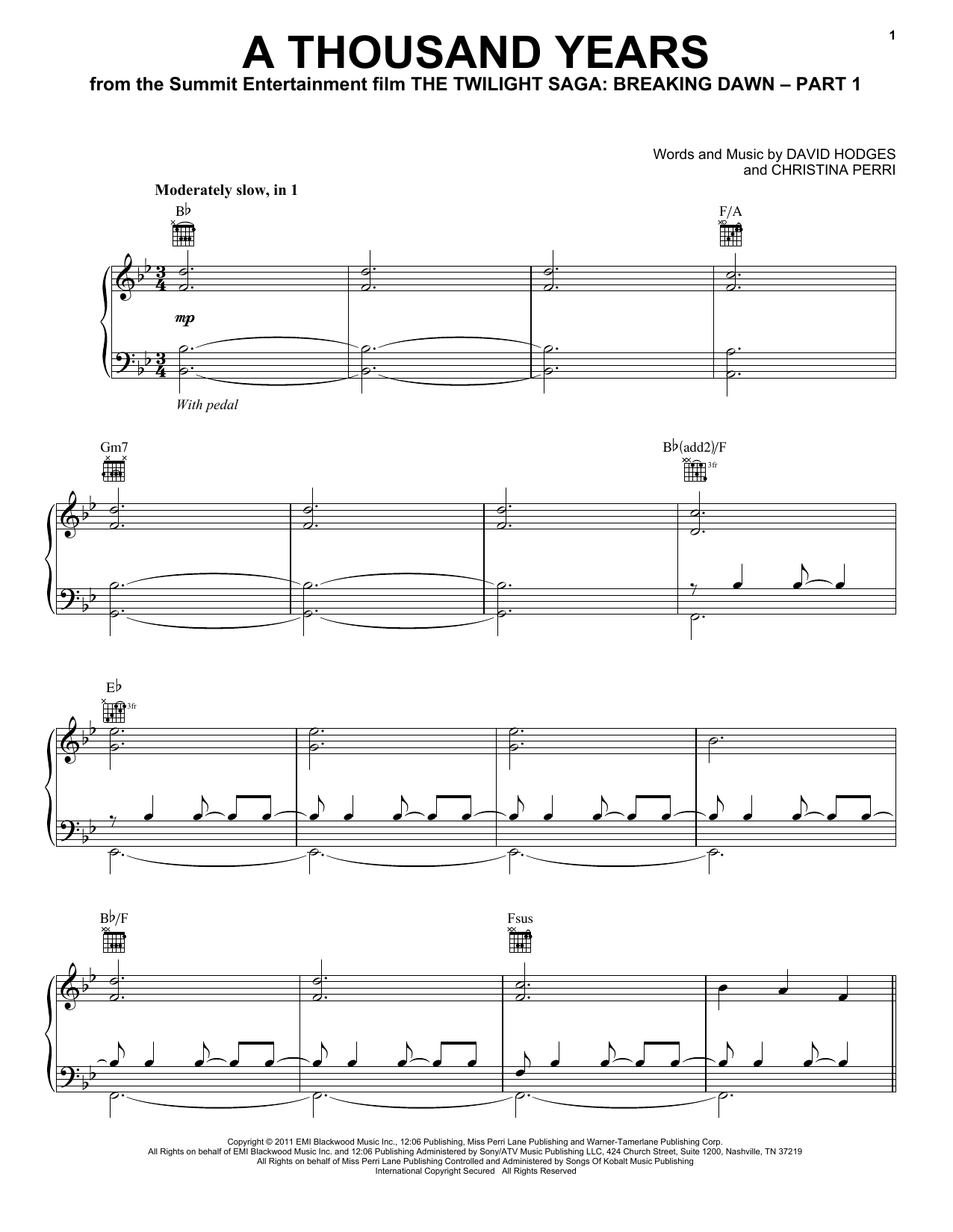 Christina Perri A Thousand Years Sheet Music Notes Chords