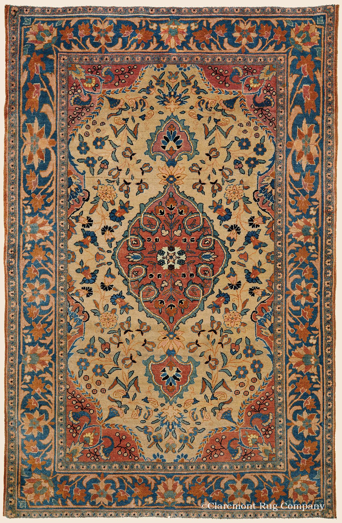 Antique Circa 1910 High Decorative Central Persian Kashan Rug 3 1 X 4 10 Price 7 500 Claremont Company