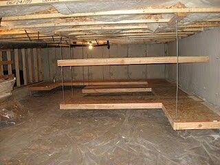 Crawlspace storage finished basement pinterest for House crawl themes