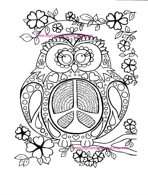 Adult Coloring Page - Colouring - Peace Owl - Hippie Coloring - Hand ...