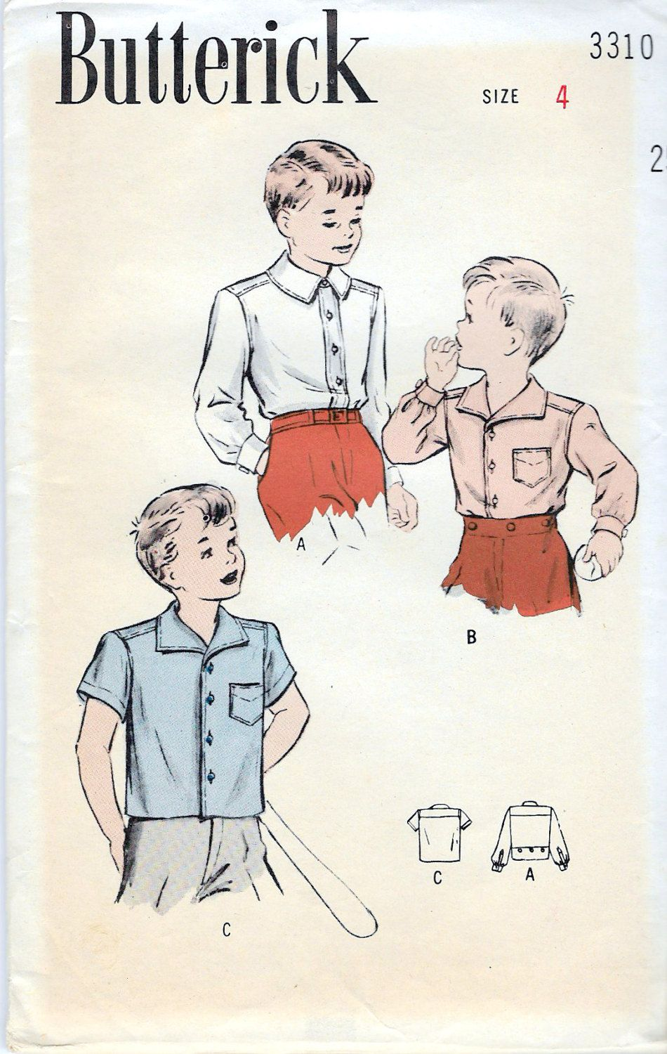 Vintage 1945 Butterick 3310 Boy\'s Shirt with Eton or Sports Collar ...