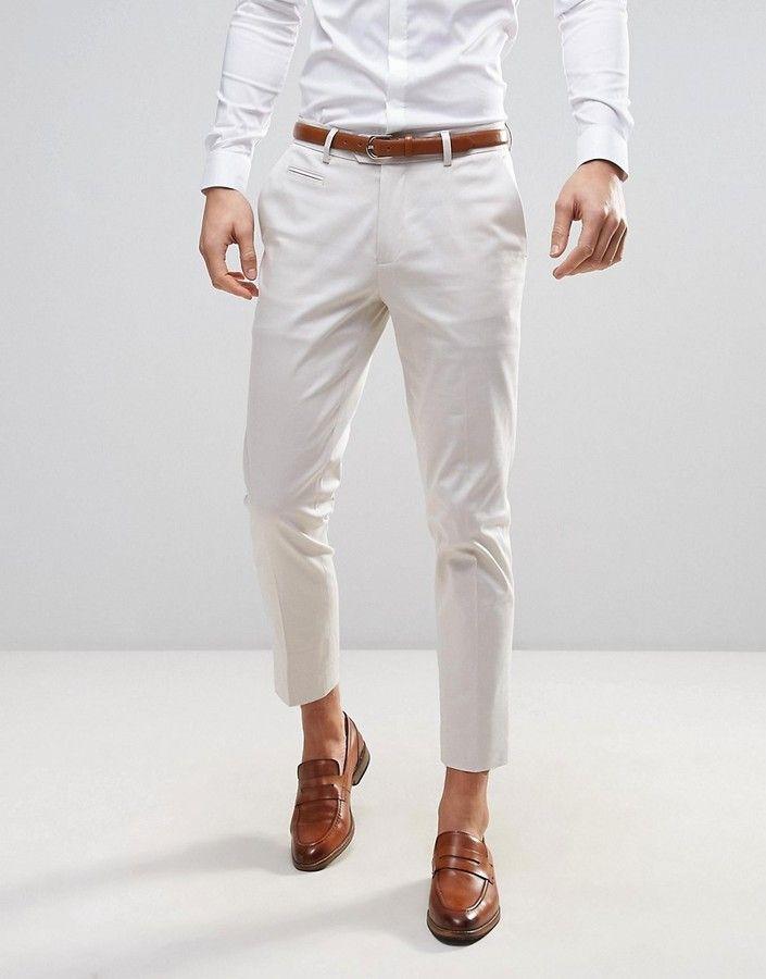Asos Wedding Skinny Crop Smart Pants In Cream In 2019