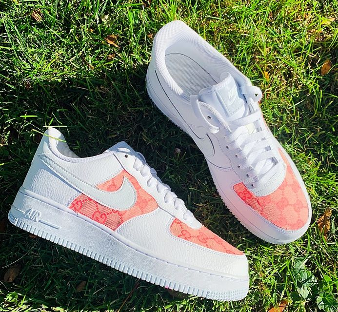 Pink GG Air Force 1 THE CUSTOM MOVEMENT in 2020 White