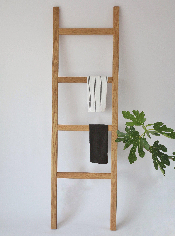 Solid Oak Blanket Ladder Towel