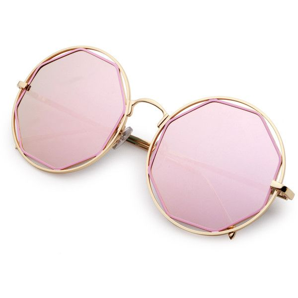 9e09aa8f7e SheIn(sheinside) Gold Frame Pink Lens Hollow Out Sunglasses ( 11) ❤ liked  on Polyvore featuring accessories