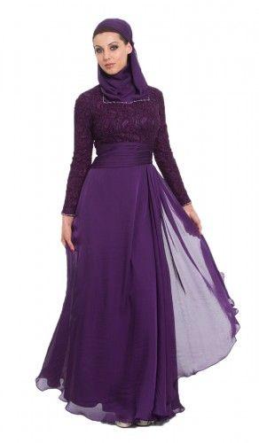 867417a361 Azza Purple Islamic Formal Long Dress with Hijab