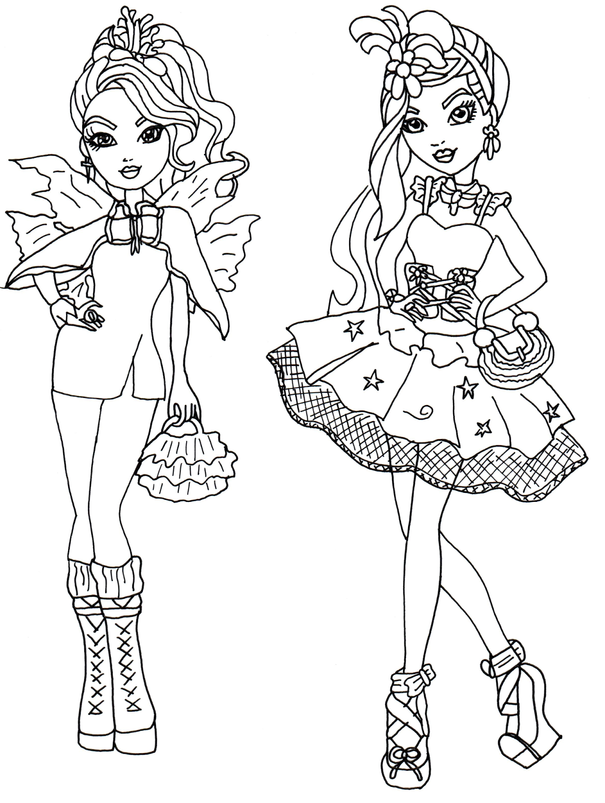 Faybelle Thorn And Duchess Swan Ever After High Coloring Page Png