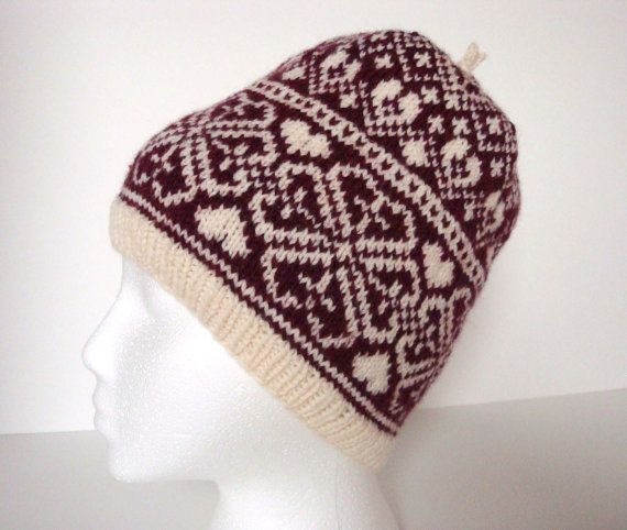 Hand Knit Fair Isle Heart and Flower Hat, Slouchie Hat, Beanie ...