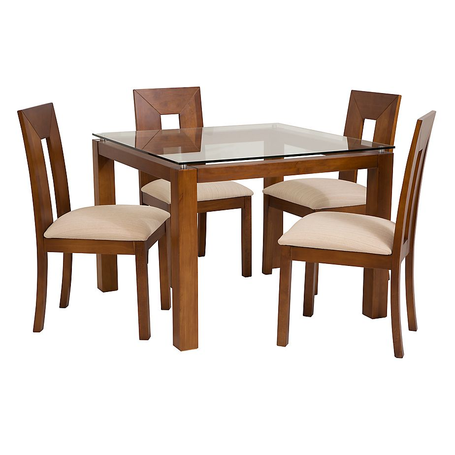 Basement home juego de comedor capri miel 100 x 100 cm con Juego de comedor 4 sillas moderno