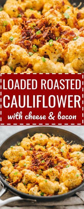 This easy roasted cauliflower is a super comforting low-carb meal, loaded with bacon and cheese. oven // parmesan / head / paleo / best / cheesy / weight watchers / pan / skillet / paprika / bites / simple / quick / florets / keto / low carb / diet / atkins / induction / meals / recipes / easy / dinner / lunch / foods / healthy #cauliflower #lowcarb via @savory_tooth #atkinsmeals