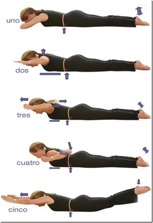 Pilates ejercicios de pilates para la espalda ejercicios con pesas fitness pinterest - Ejercicios yoga en casa ...