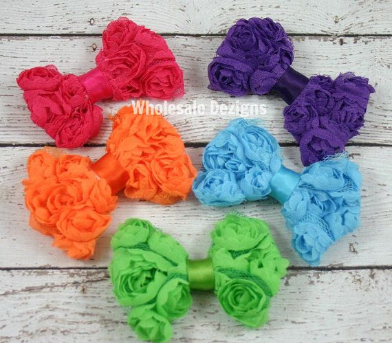 5 Mini Rosette Bows- Bright Colors - Petite Chiffon Bow - Hot PInk, Orange, Purple, Green, and Turquoise on Etsy, $76.67