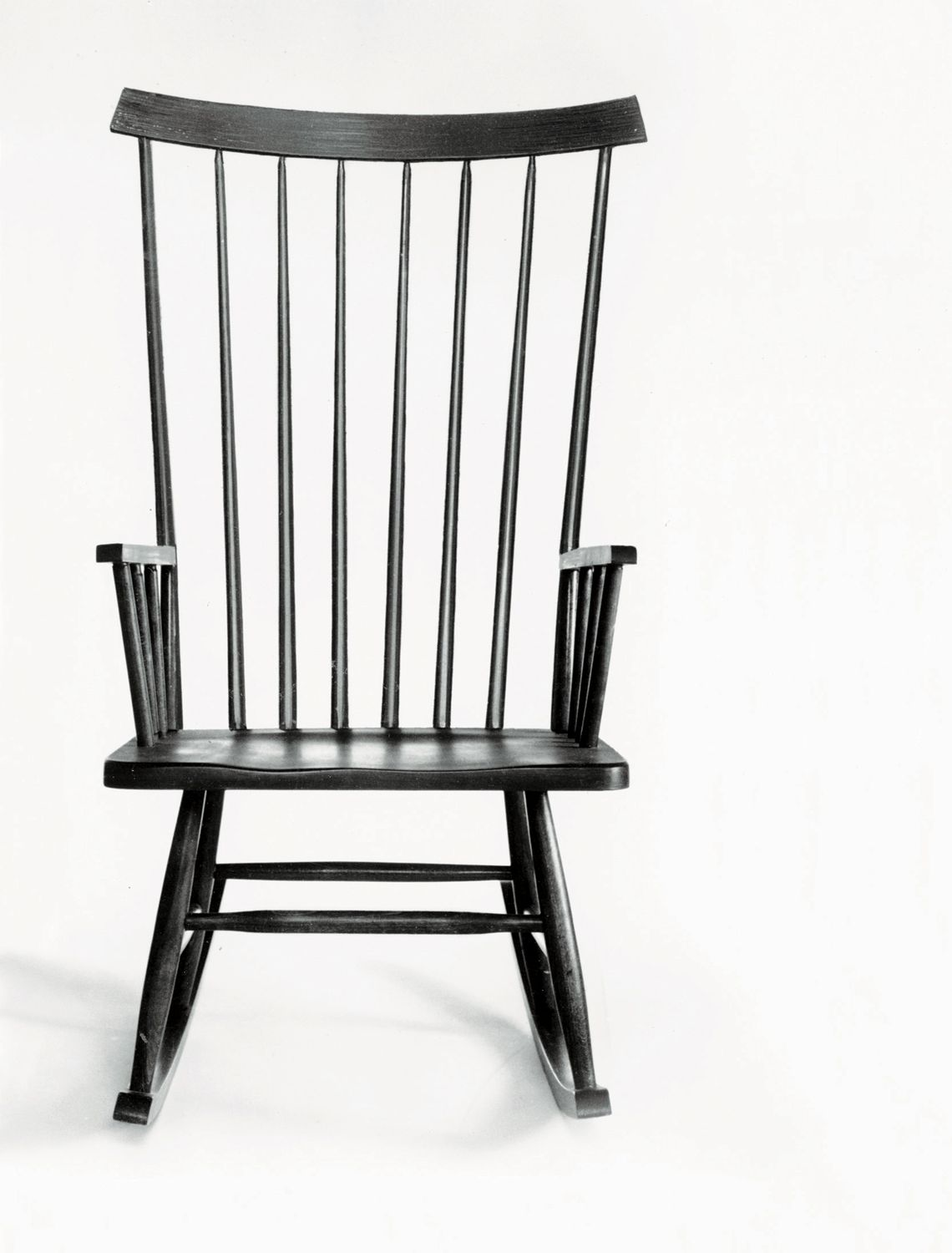 The white and dark color rocking chair wicker and wood black