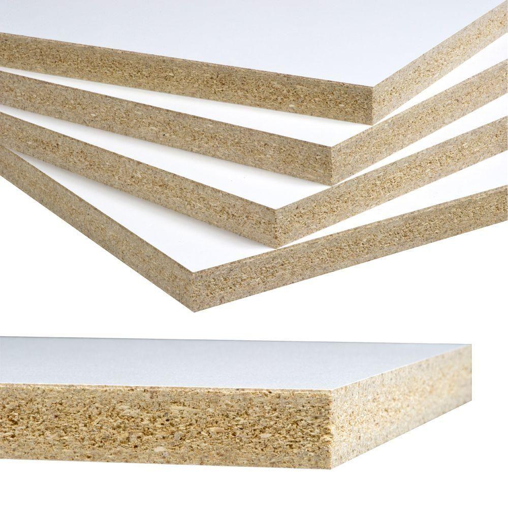 Veranda Melamine White Panel Common 3 4 In X 4 Ft X 8 Ft Actual 750 In X 49 In X 97 In 461877 The Home Depot White Paneling Melamine Shelving White Laminate