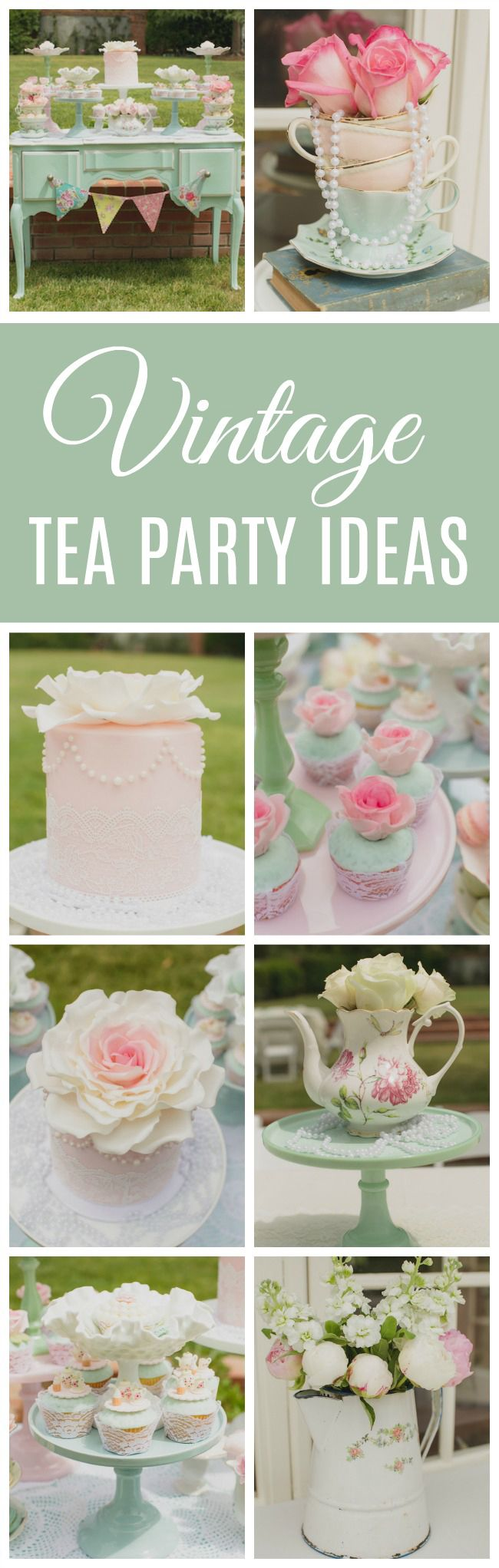 Mint and Pink Vintage Tea Party | Tea Time | Pinterest | Gartenparty ...