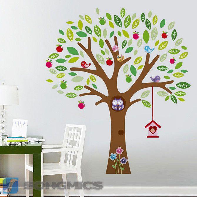 Awesome Baum Wandaufkleber Wandsticker Wandtattoo Wanddeko Wanddekoration Bunt FWTC
