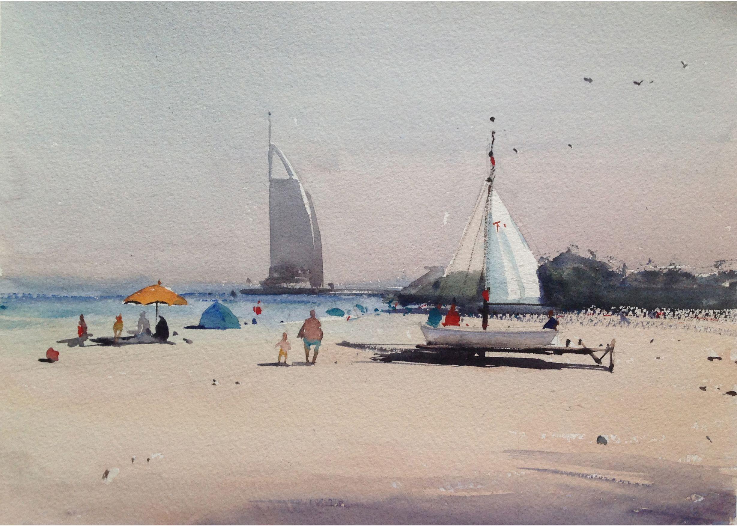 Color art dubai - Watercolor Of Dubai Landscape 2
