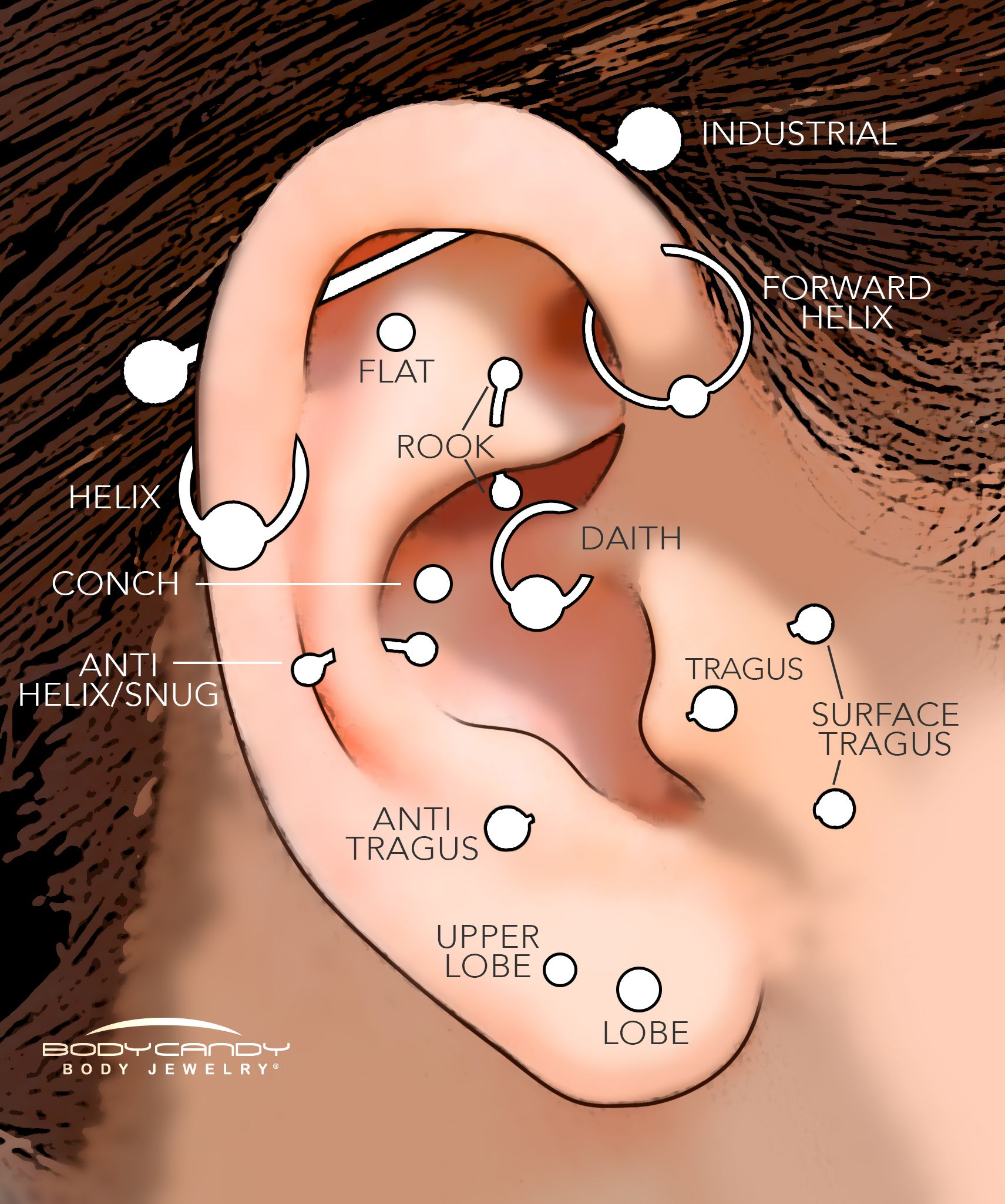 A guide to the different types of ear piercings  Multiple earrings