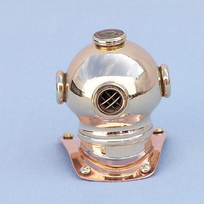 """Handcrafted Nautical Decor 3"""" Antique Copper Decorative Divers Helmet Paperweight Finish: Brass"""