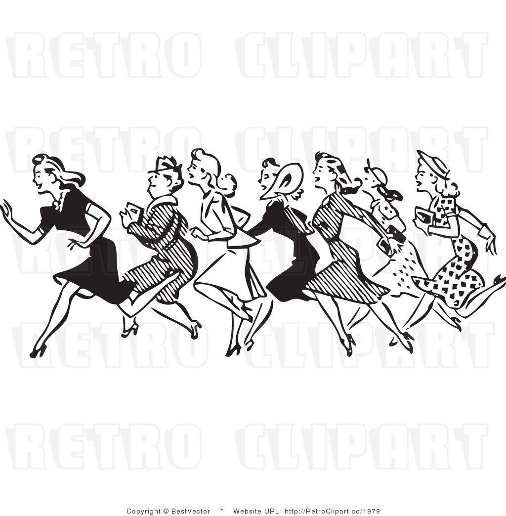 Royalty Free Black And White Retro Vector Clip Art Of Women Running Clip Art