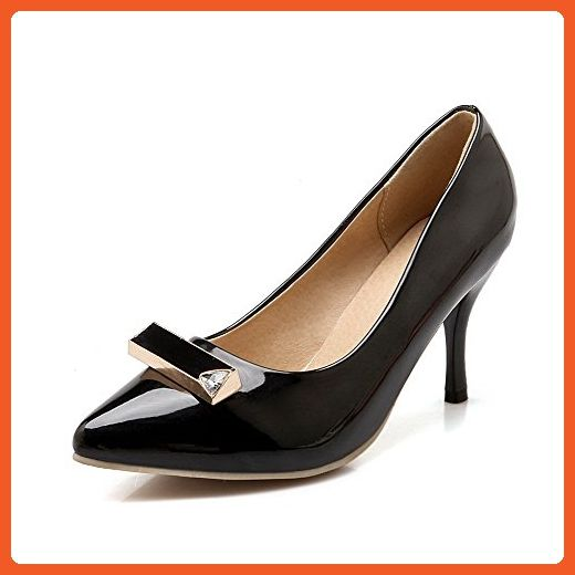 AllhqFashion Women's Solid Patent Leather High Heels Pull on