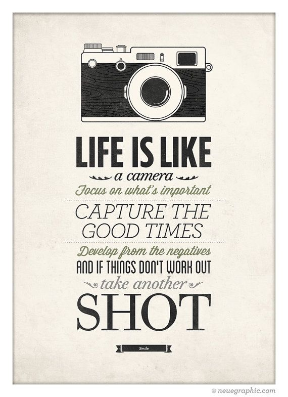 Life Is Like A Camera Vintage Style Typography By Neuegraphic Inspiration Quote