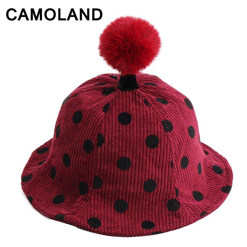 4c4c33777 Winter Kid's Pompom Caps Children Bucket Hats Panama Fashion Autumn ...