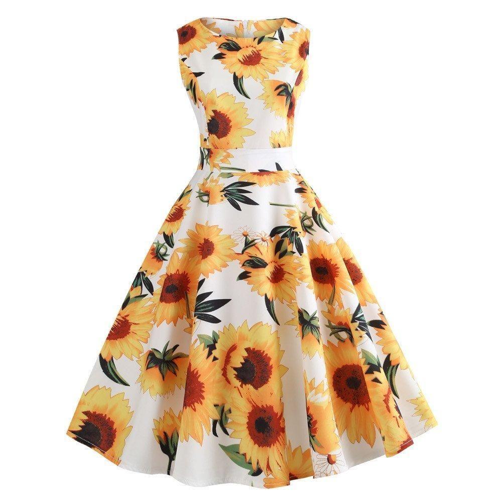 Vintage Dresses Retro Sunflower Print Sleeveless Tea Evening Party Short Dress In 2021 Summer Dresses Printed Summer Dresses Summer Dresses For Women [ 1000 x 1000 Pixel ]