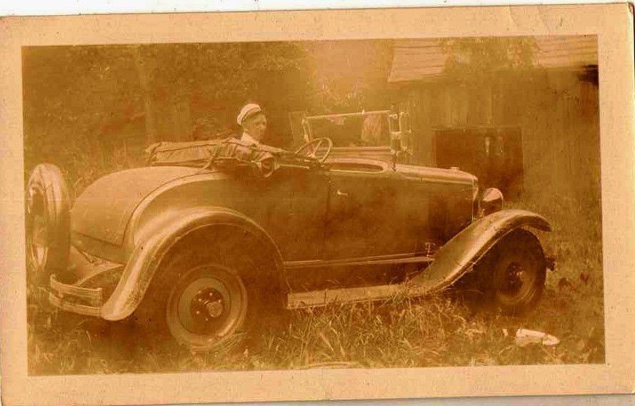 Old Antique Vintage Photograph Man Sitting in Antique Car Automobile Vehicle