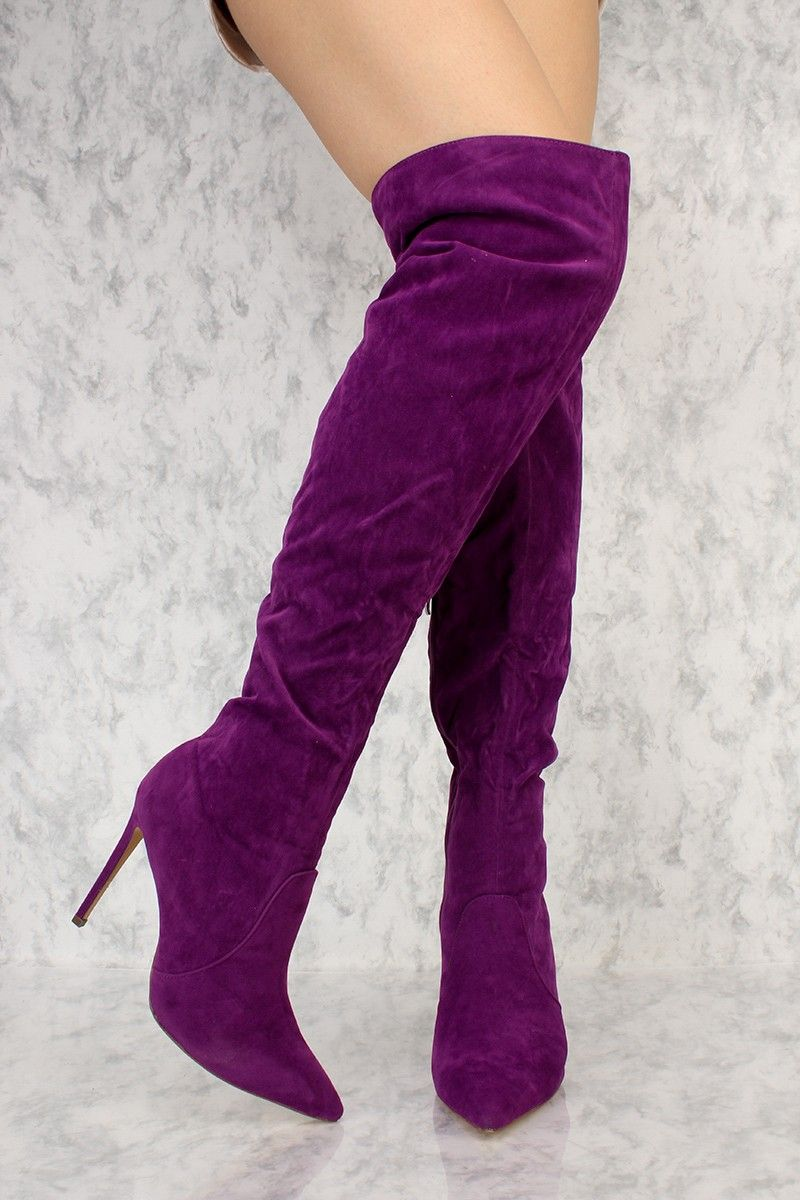 2ec607e8b951 Purple Slouchy Pointy Toe Over The Knee High Heel Ami ClubWear Boots Faux  Suede