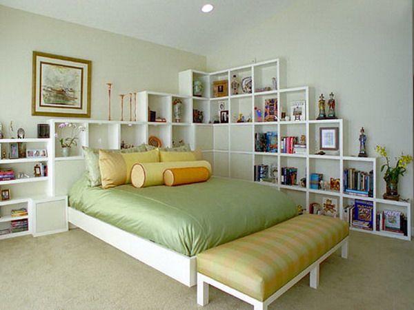 Headboard Shelf Ideas cube storage - unique #headboards | the elegant home | pinterest