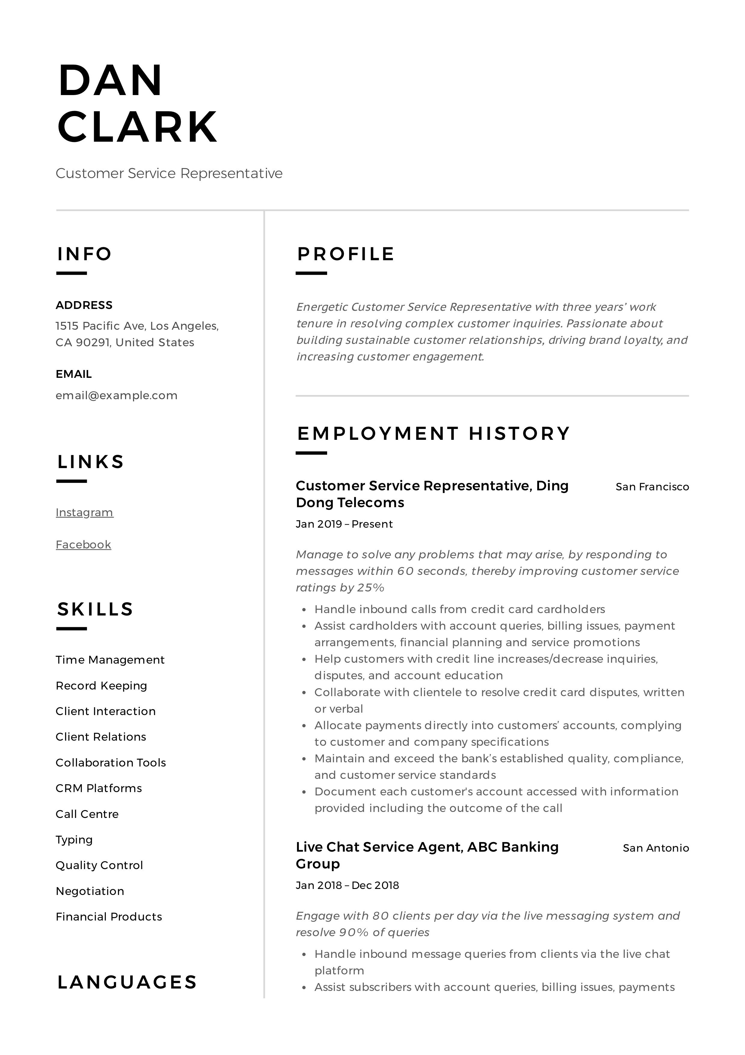Customer Service Representative Resume Sample Customer Service Resume Examples Resume Writing Services Resume Skills