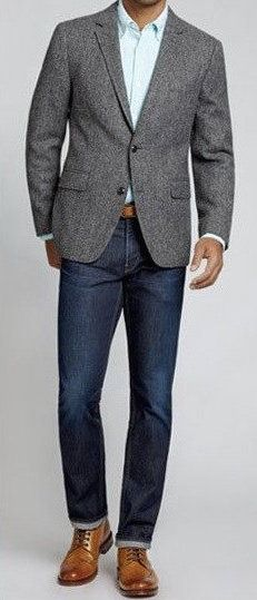 89fed28d417 Pair a sports coat with your designer jeans. Wear a brown belt that matches  the color of your shoes.