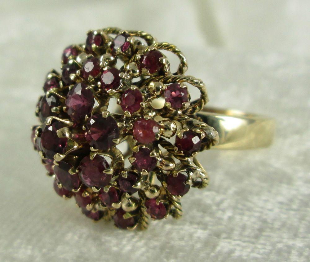 Thai Princess Crown Ring 14k Yellow Gold 35 Natural Rubies 7 6 Grams Size 3 4 Cer