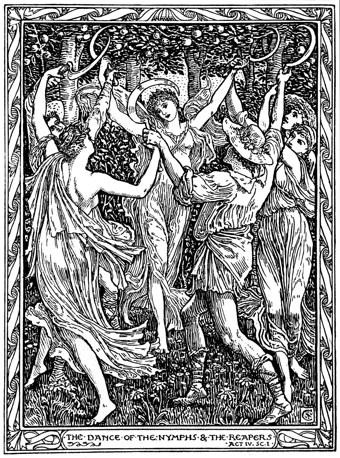 "Walter Crane's illustration to William Shakespeare's ""The Tempest"" (1894)"