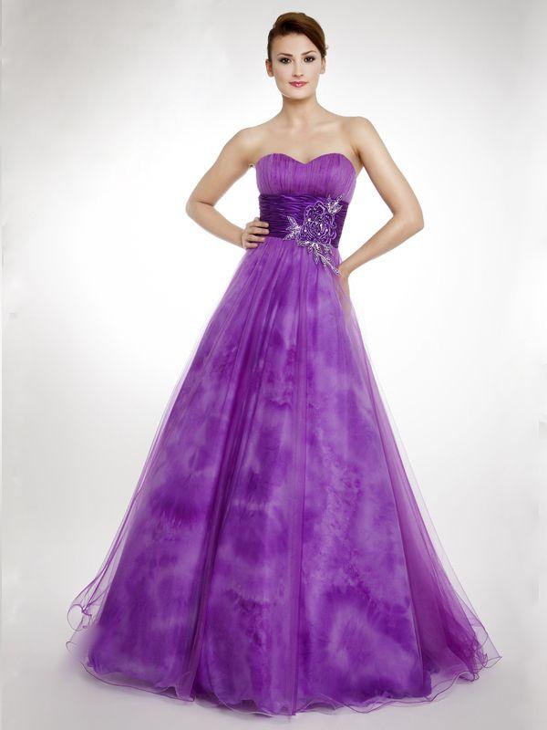 Precioso vestido de tul, con corte princesa, y de escote corazón ...