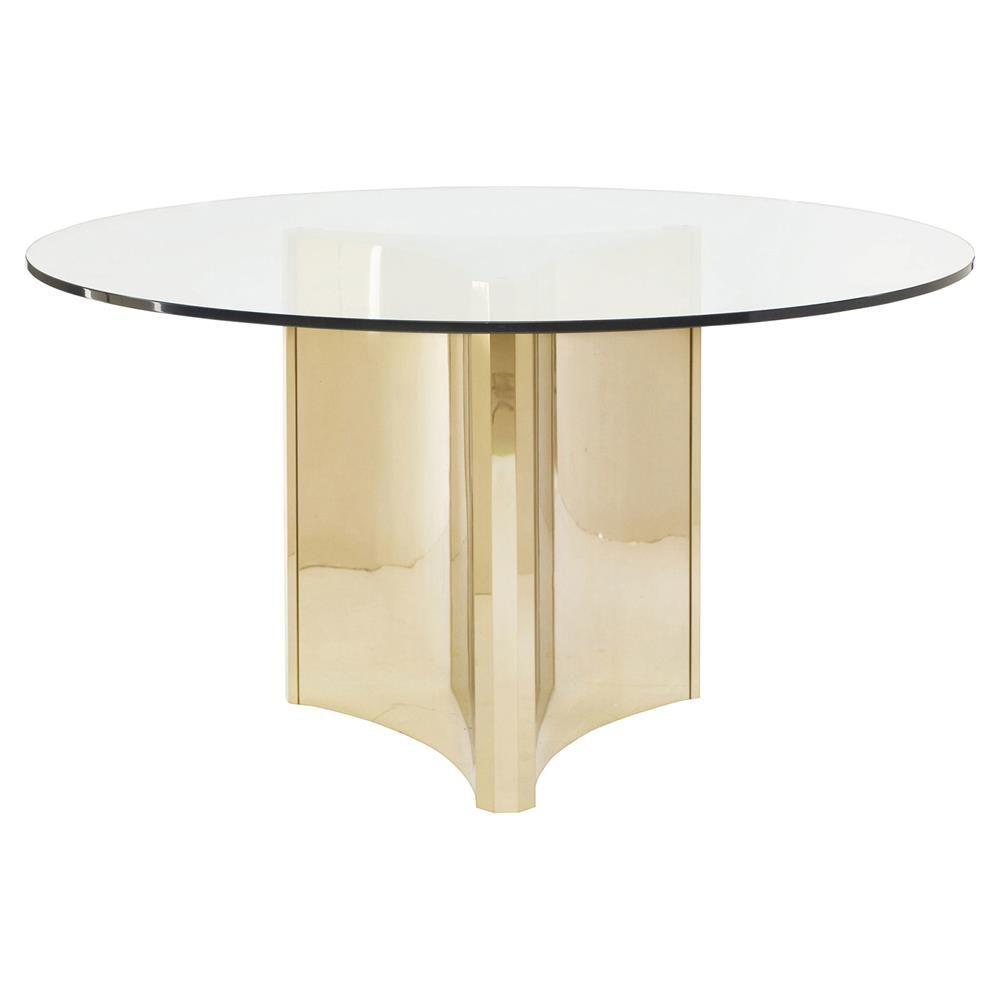 Ellen Modern Sleek Gold Round Glass Top Dining Table In 2020
