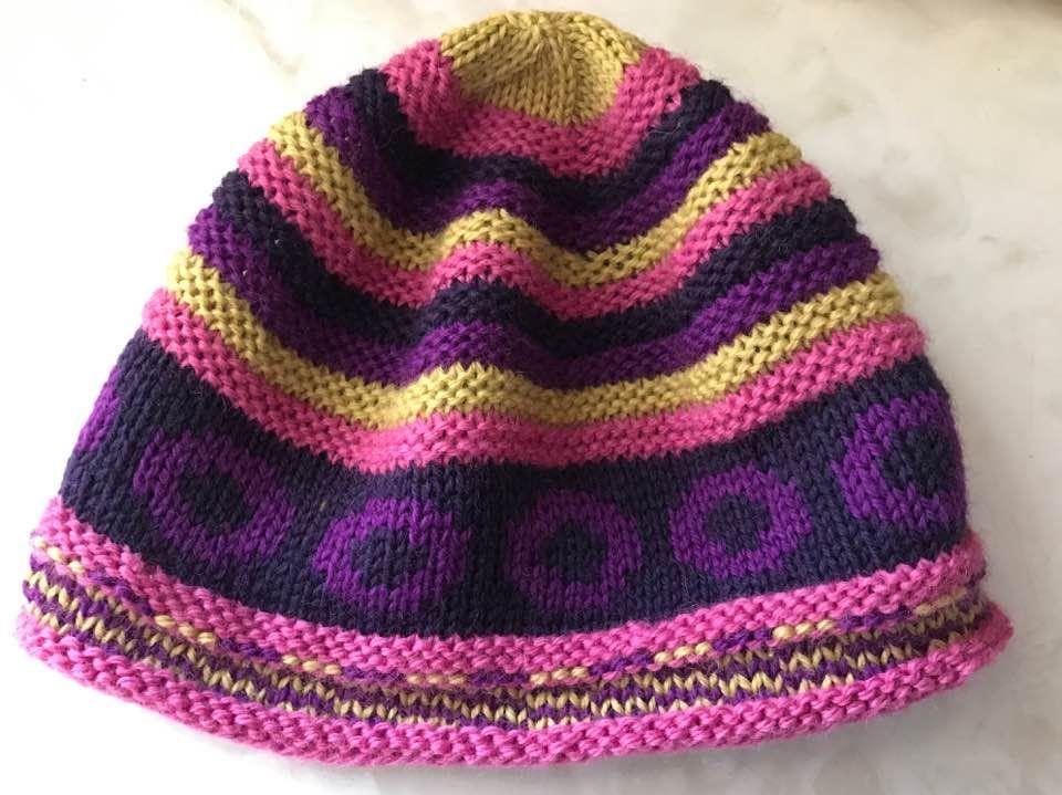 """Motley Leuw"" hand-knit wool hat by Cherie Anne"