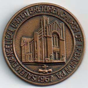1967 Salem Evangelical United Brethren Church Lebanon PA Medal  | eBay