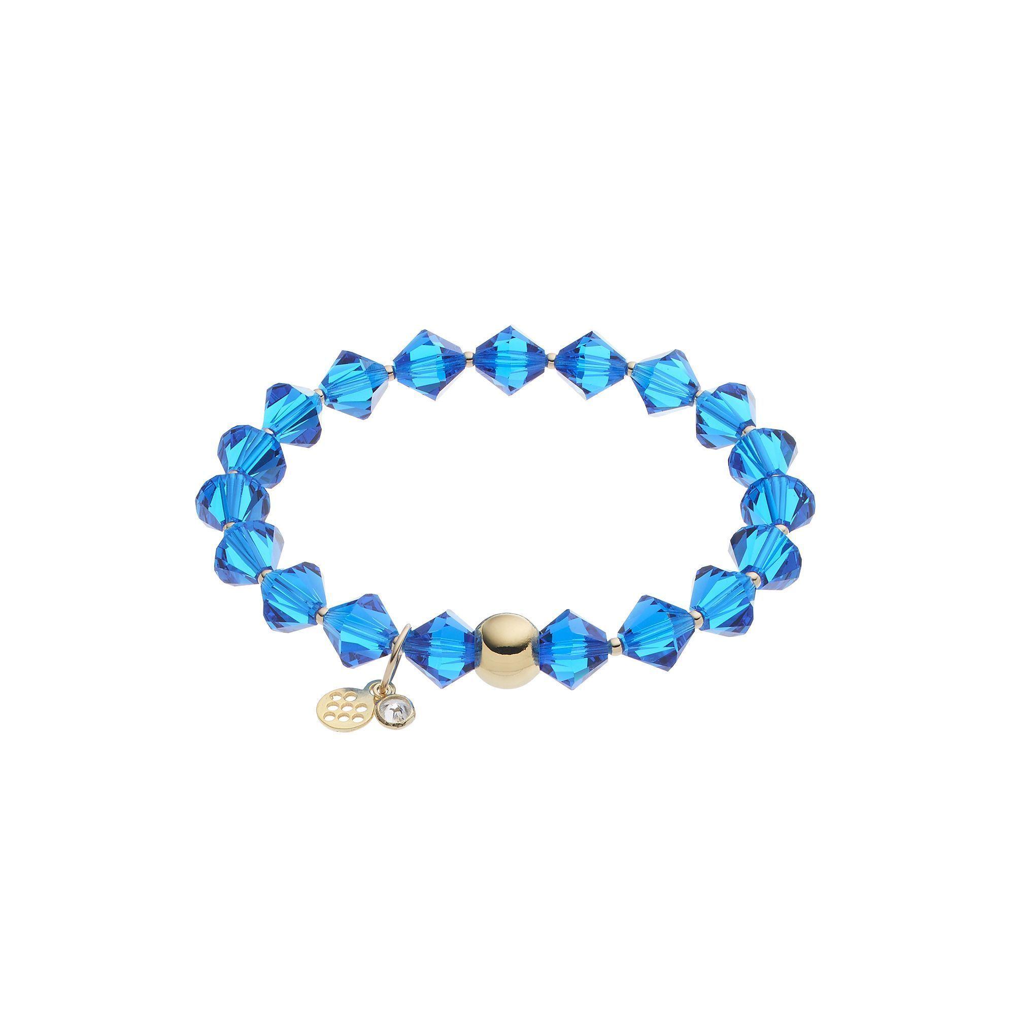 Tfs jewelry k gold over silver blue crystal stretch bracelet